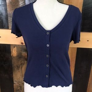 NWT Self e ribbed  5 button front top, size S